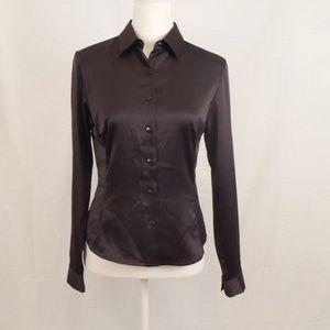 Ann Taylor Stretch Button Down Blouse, Black, Sz 2